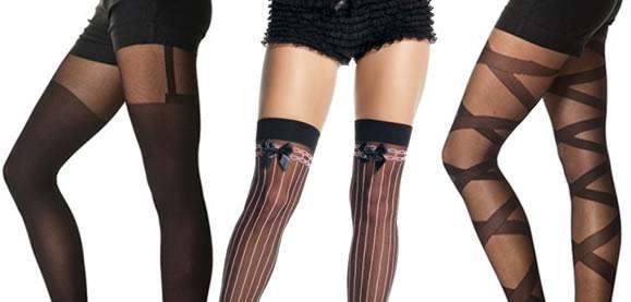 сексуальные модные колготы с имитацией чулков