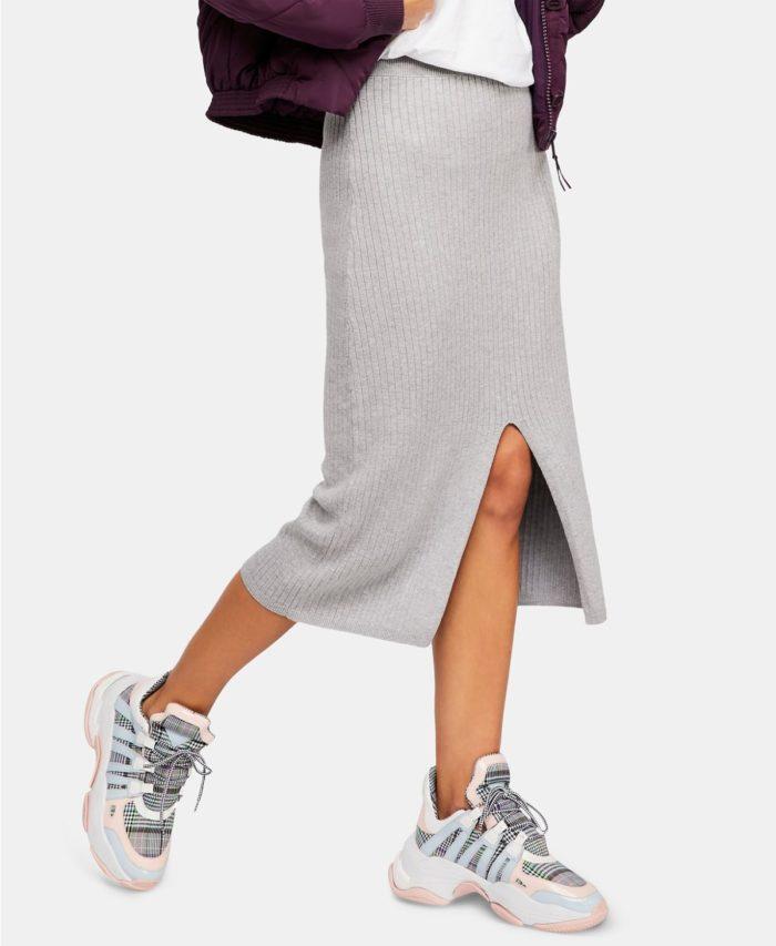 юбки с разрезом: теплая миди