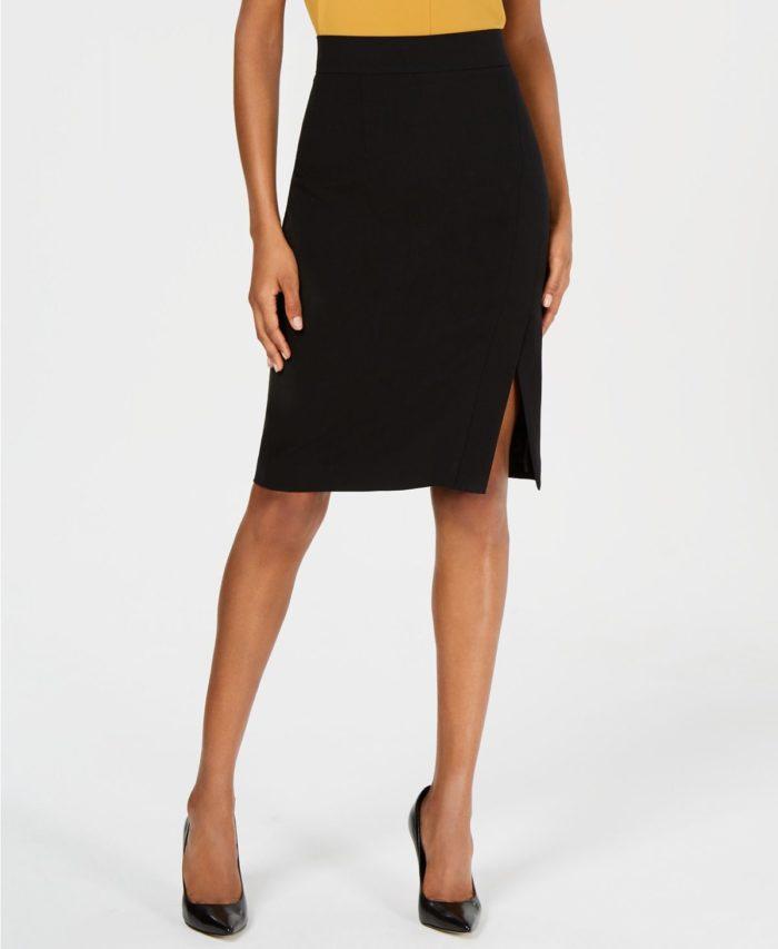 юбки с разрезом: черная миди