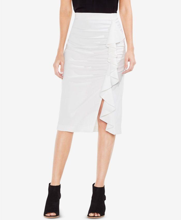 юбки с разрезом: белая миди