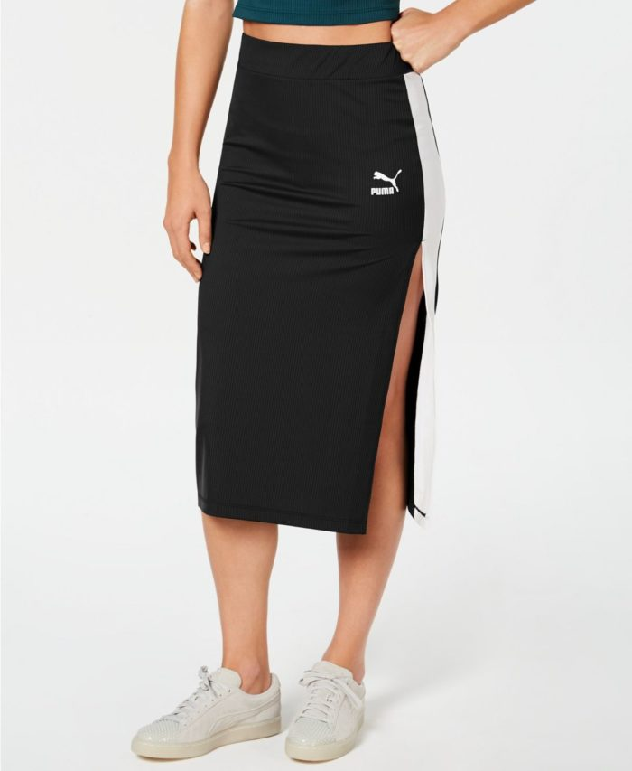 юбки с разрезом: черная puma ниже колена