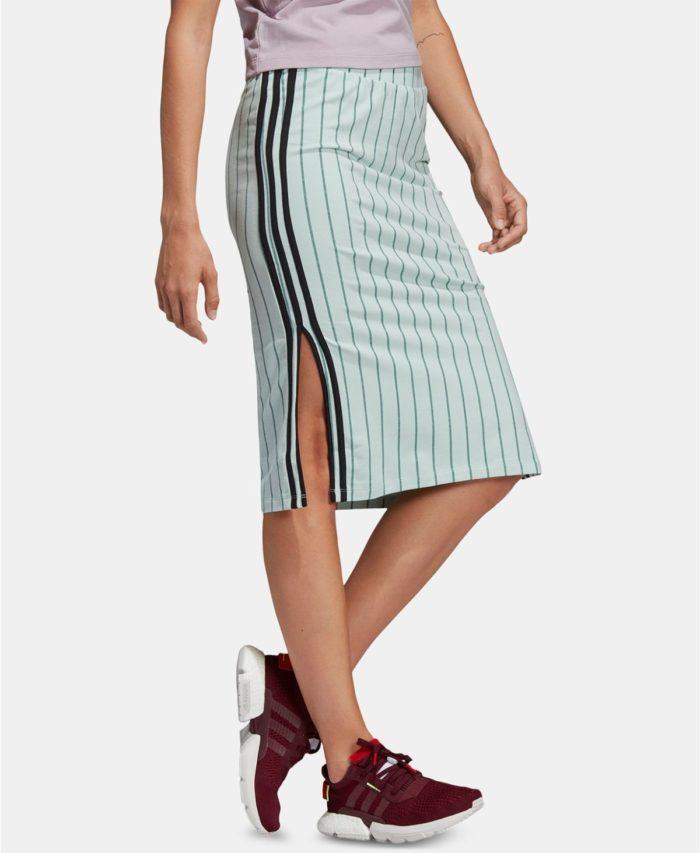 юбки с разрезом: салатовая черная полоска миди