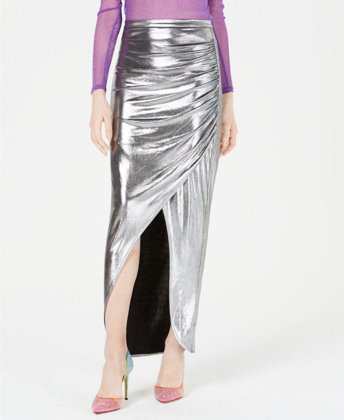 юбки с разрезом: блестящая длинная