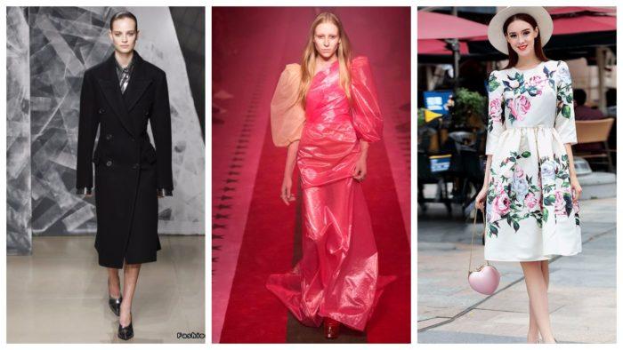 широкие плечи черное пальто розовое платье белое с принтом