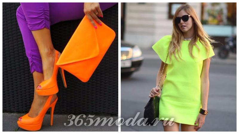 модный неон: оранжевая сумка и туфли, салатовое платье