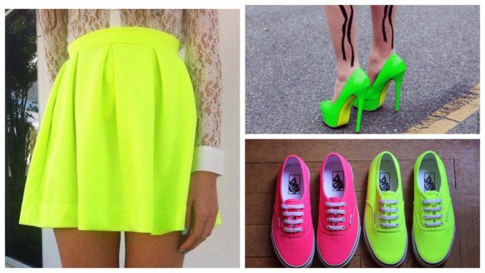 неон яркая юбка туфли