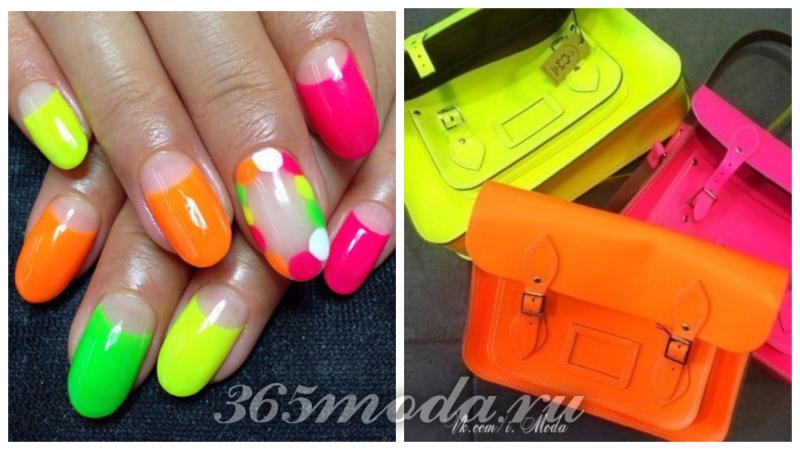 модный неон: яркий маникюр, яркие женские сумочки