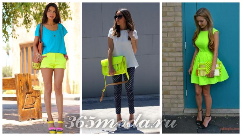 неоновая одежда: салатовая юбка, салатовая сумка, салатовое платье
