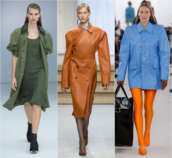 широкие плечи в тренде: зеленое пальто, коричневое пальто, голубое пальто
