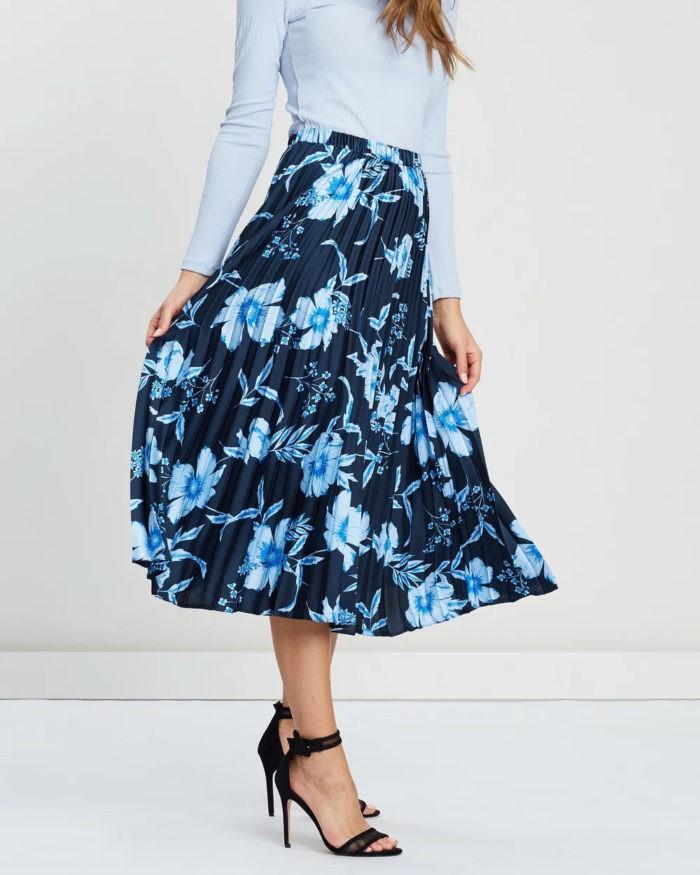 темно-синяя плиссе принт голубые цветы