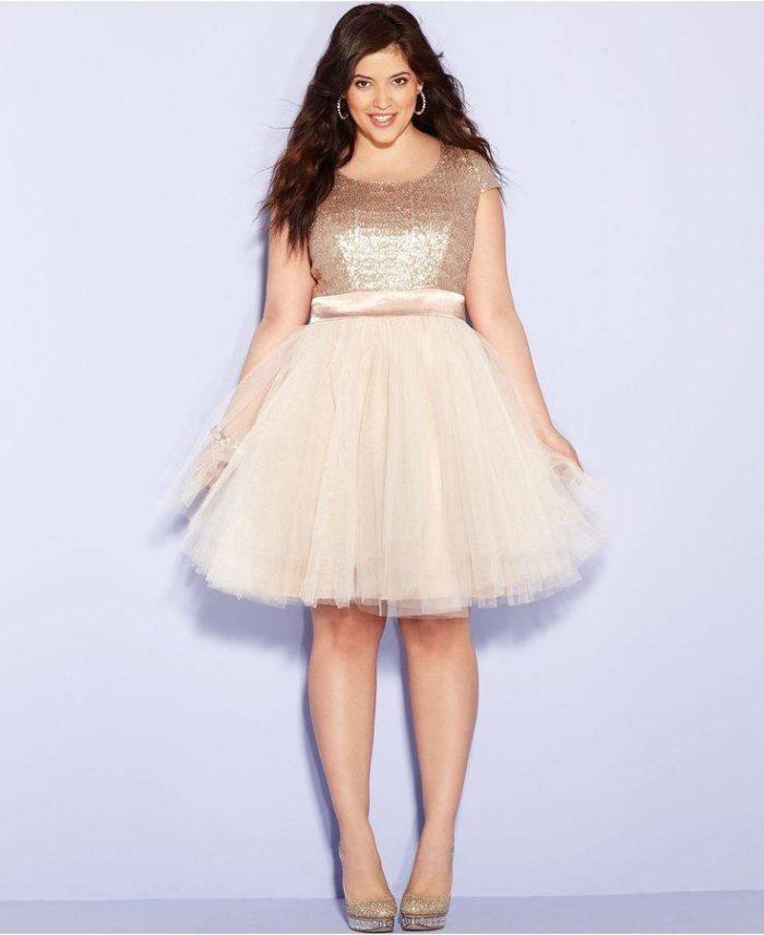 блестящее платье для полных