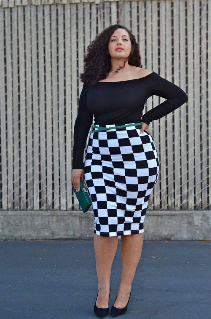 модная юбка для полных с принтом