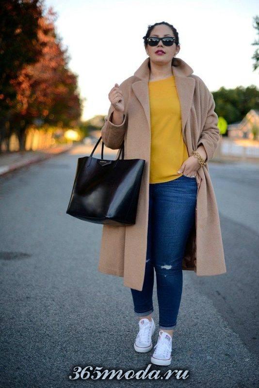 бежевое пальто для полных