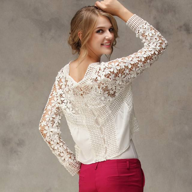 стильная кружевная блуза