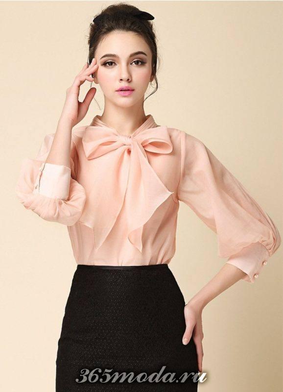 модная блуза с бантом