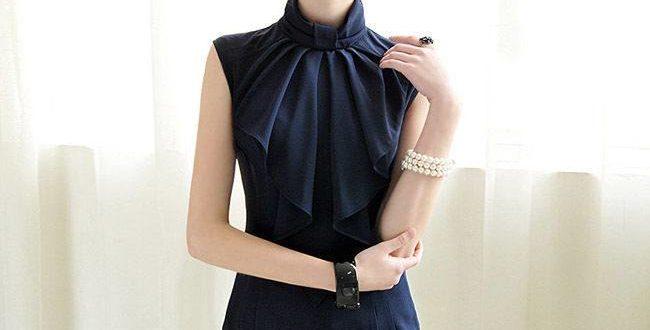 Блузка с воротником стойкой