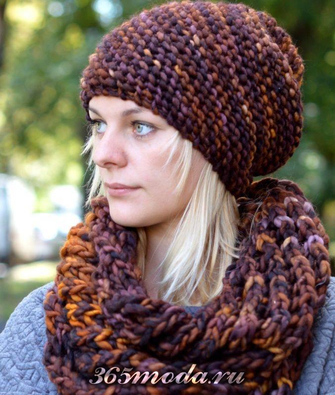 модные головные уборы осень-зима: теплые вязаные шапки