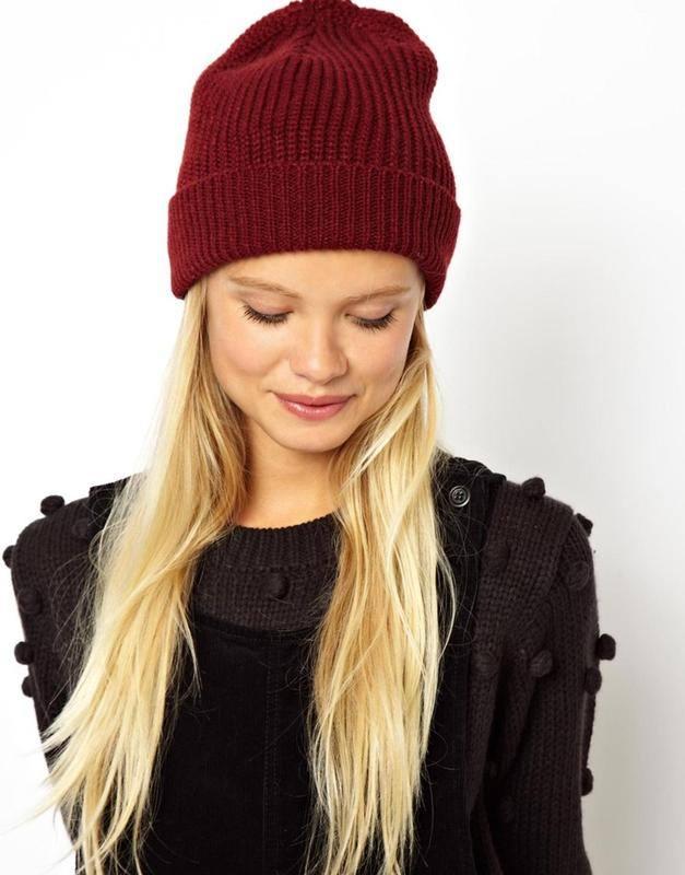 головной убор осень-зима: бордовая шапка