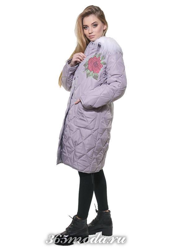 стеганная куртка с вышивкой