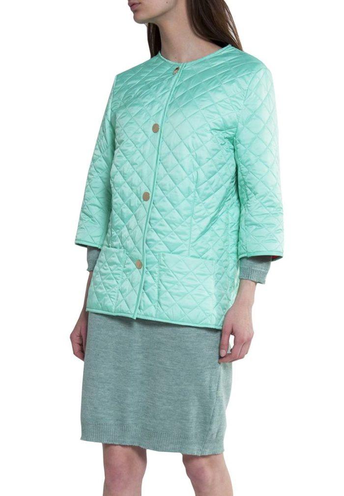 бирюзовая стеганная куртка