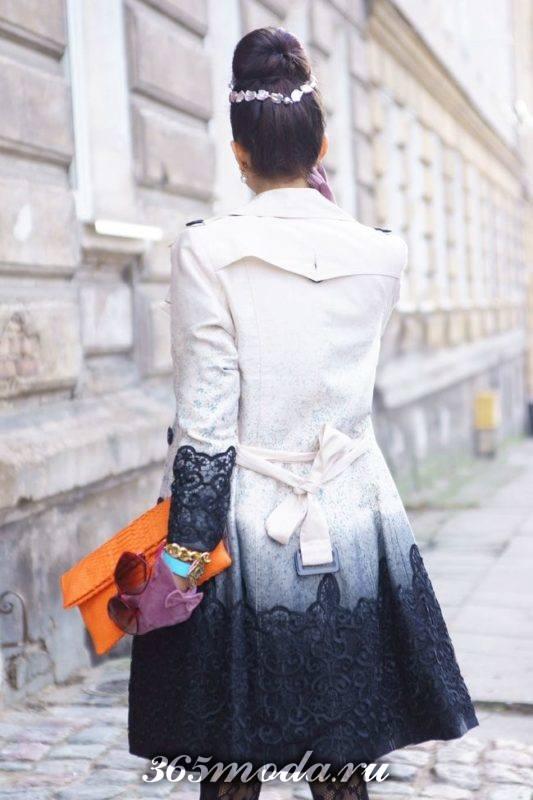 модное пальто с кружевом