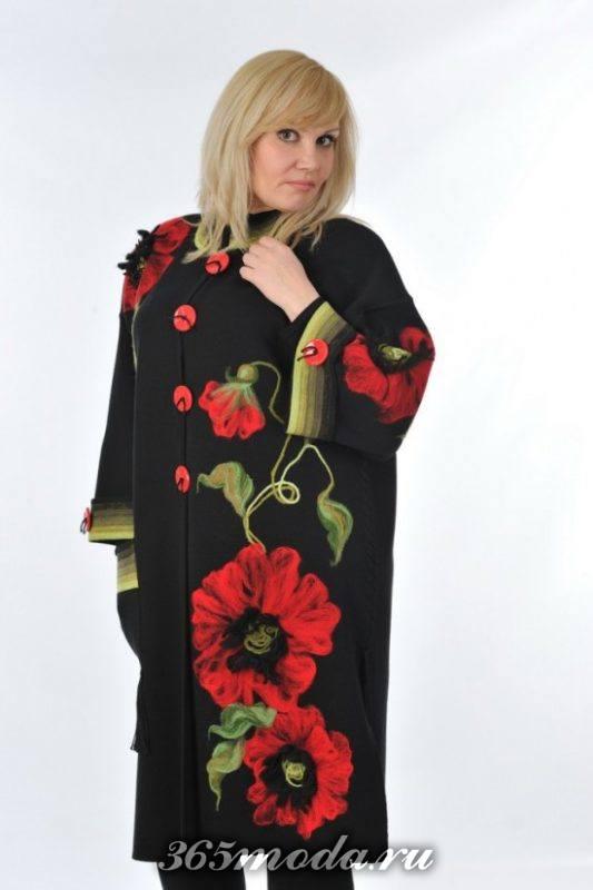 модное пальто с вышивкой