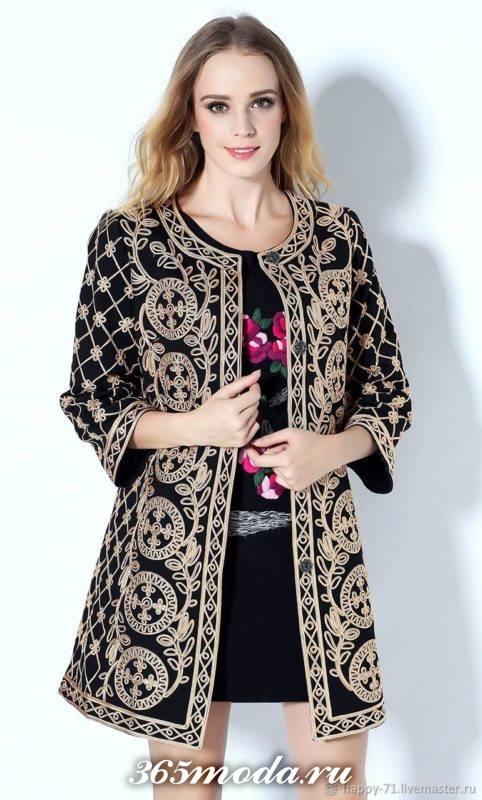 модное пальто с принтом