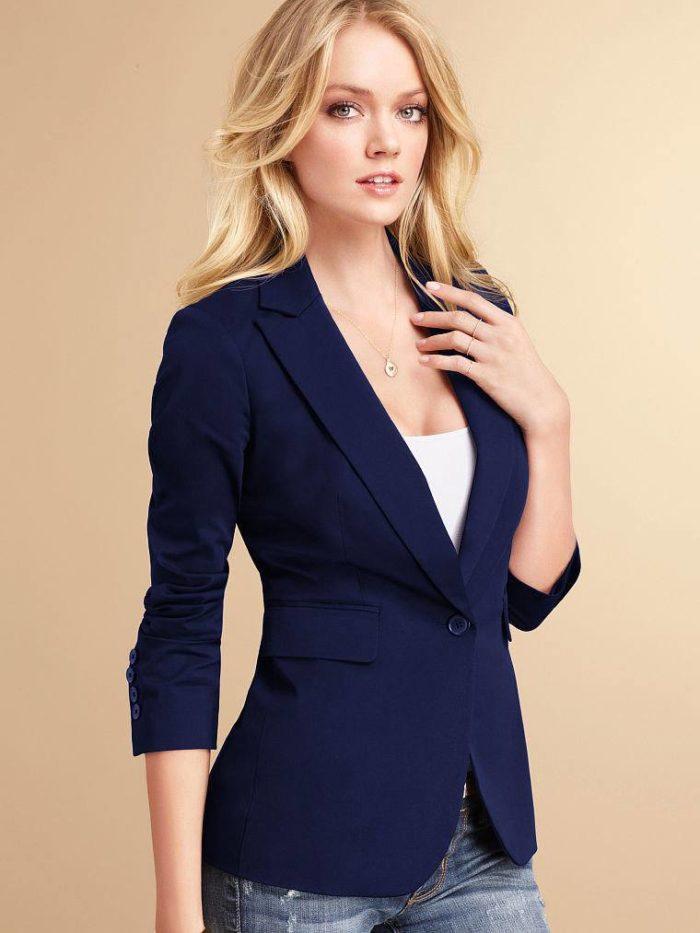 темно-синий классический укороченный рукав