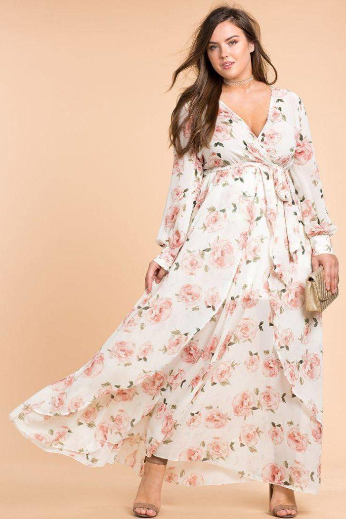 цветочные платья для полных