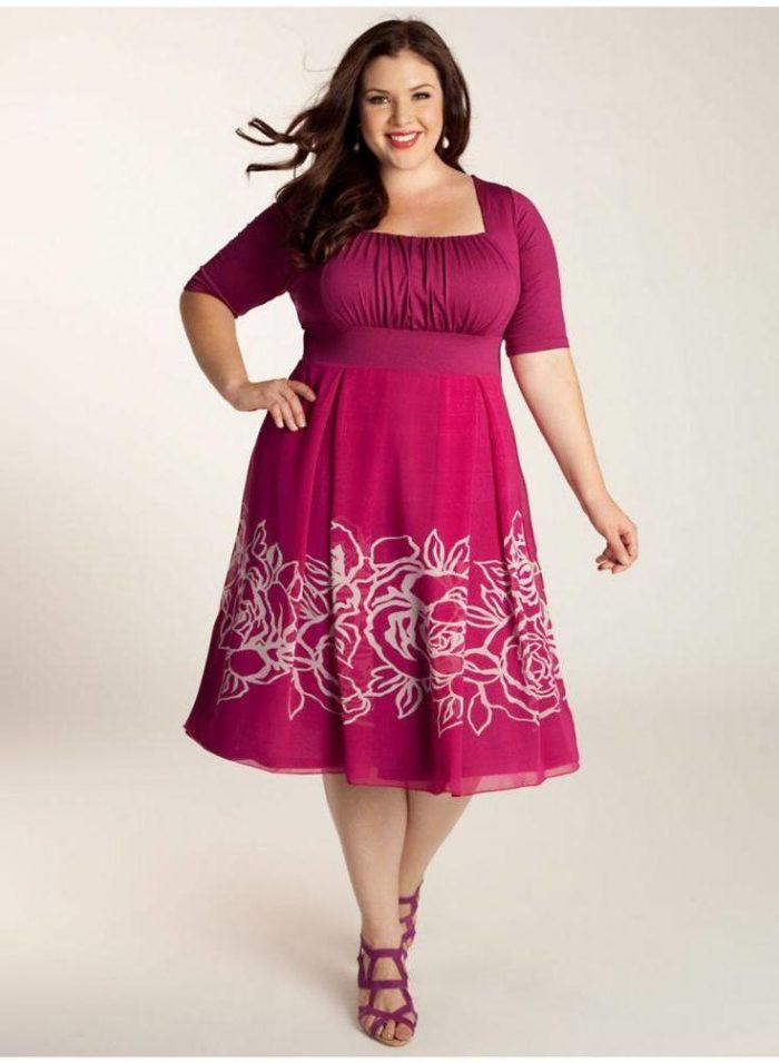 яркое платье для полных