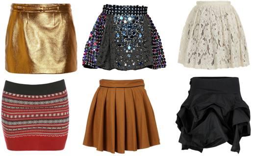 Что модно носить весной, модные короткие юбки весны: золотая, блестящая, белая, красная с принтом, коричневая, черная
