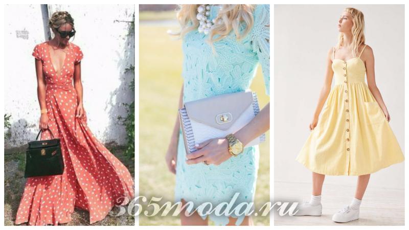 Что модно носить весной: платья розовое в горошек бирюза желтое