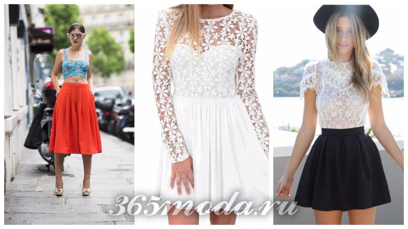 Что модно носить весной: красная юбка, белое ажурное платье, черная юбка