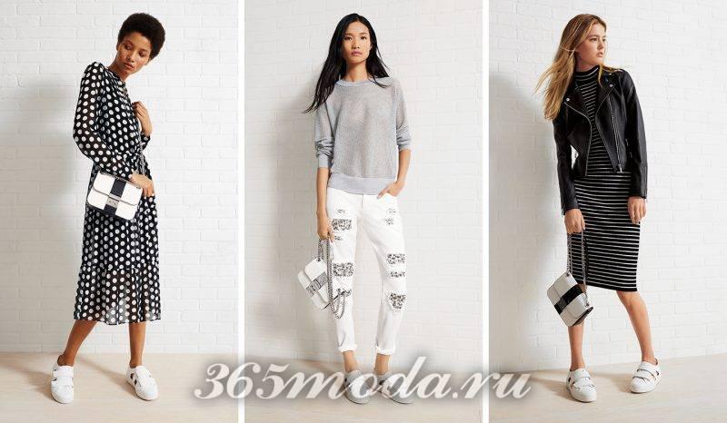 Что модно носить весной: брюки в горошек белые с принтом в полоску