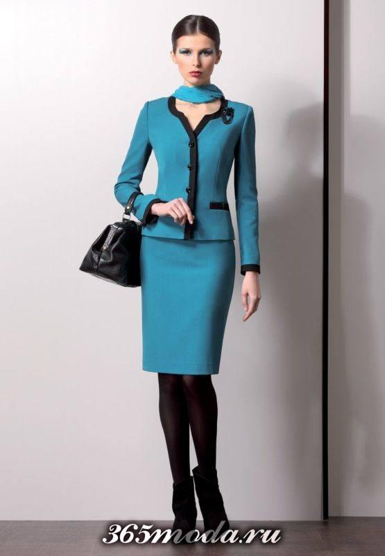 стильный деловой костюм с юбкой