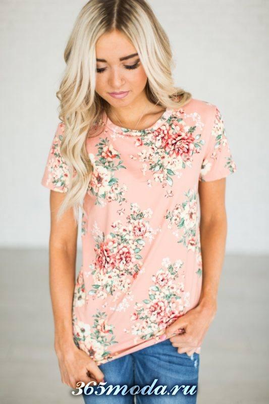 футболка с цветочным принтом