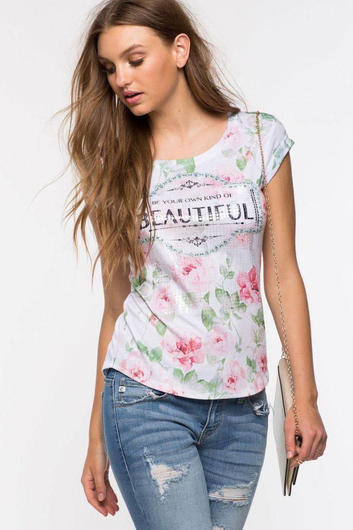 цветочный принт футболок