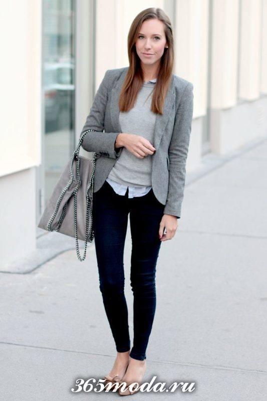 серый классический пиджак