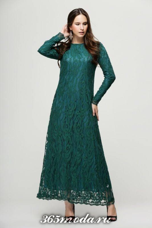 зеленое выпускное платье из кружева