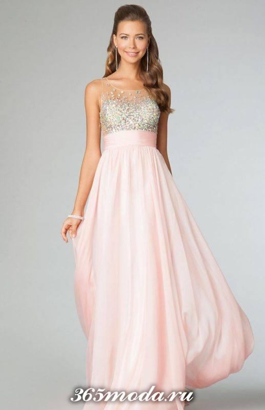 модное длинное выпускное платье