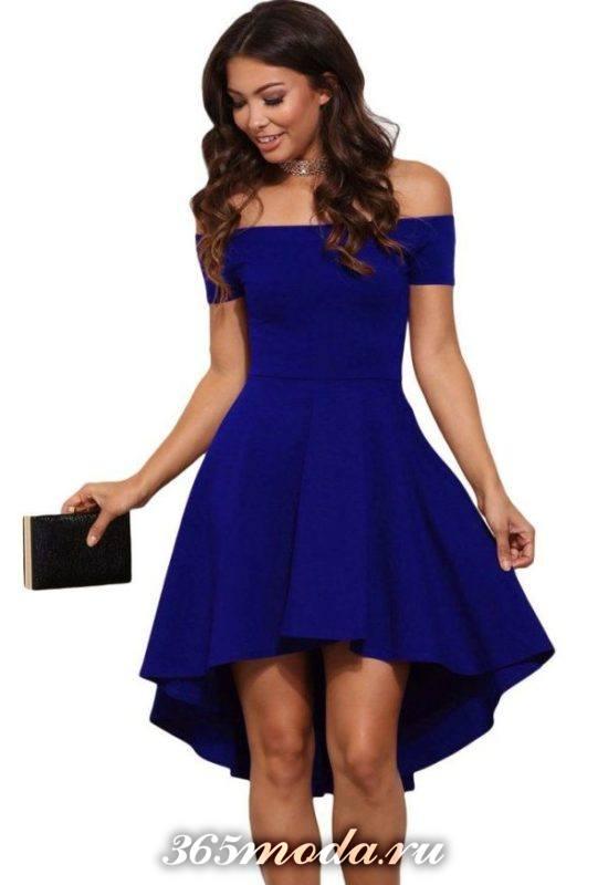 синее платье маллет на выпускной