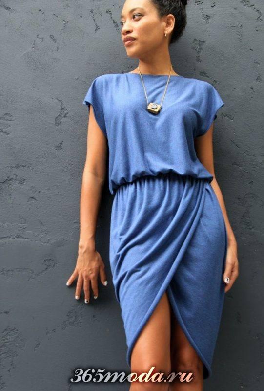 повседневное платье голубых тонов