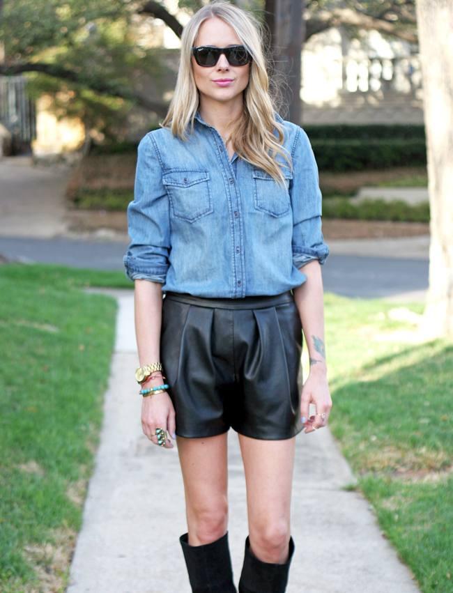 модные кожаные шорты