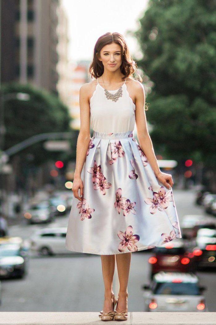 цветочная юбка миди