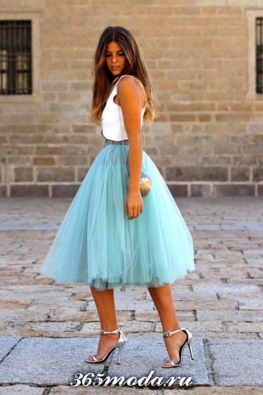 модная фатиновая юбка