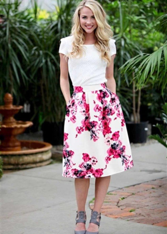 цветочные принты юбок