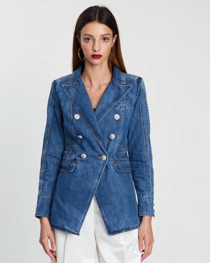 синяя деним в виде пиджака