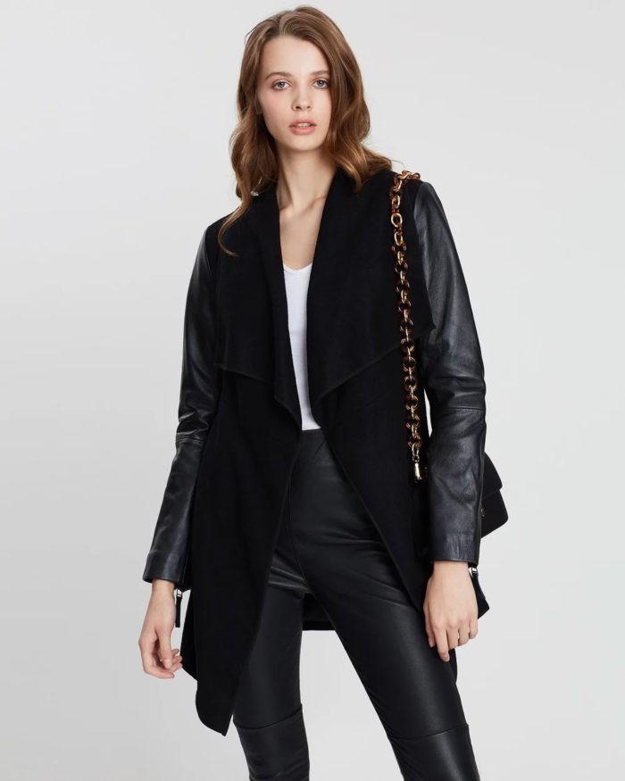черная кожаные рукава