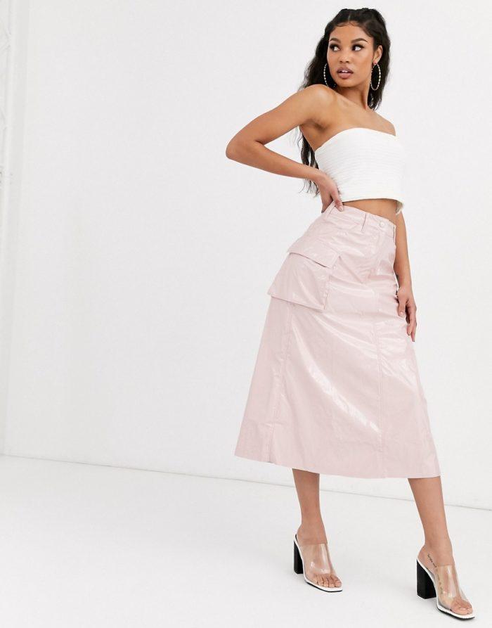 розовая виниловая макси