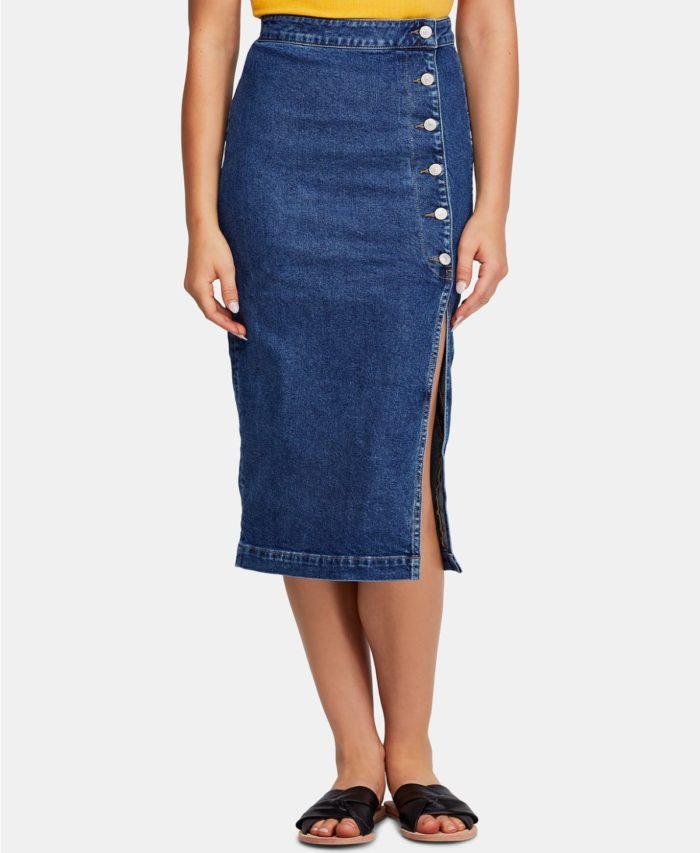 синяя джинсовая с разрезом